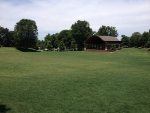 The field in front of the amphitheater is well-maintained by the Kannapolis Parks and Recreation Department.