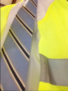 The fashionable vest I wore during my tour of Waste Pro's facilities.