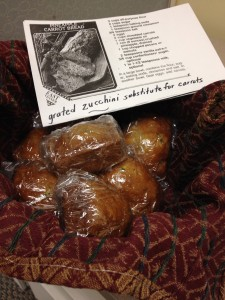 My mother made zucchini bread for me to share with my co-workers at Kannapolis City Offices.