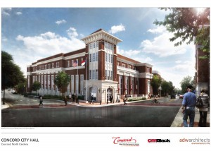 The new Concord City Hall will be 4 stories and 76,176 square feet. The total cost of the project is $20 million. It is expected be complete December 2015.